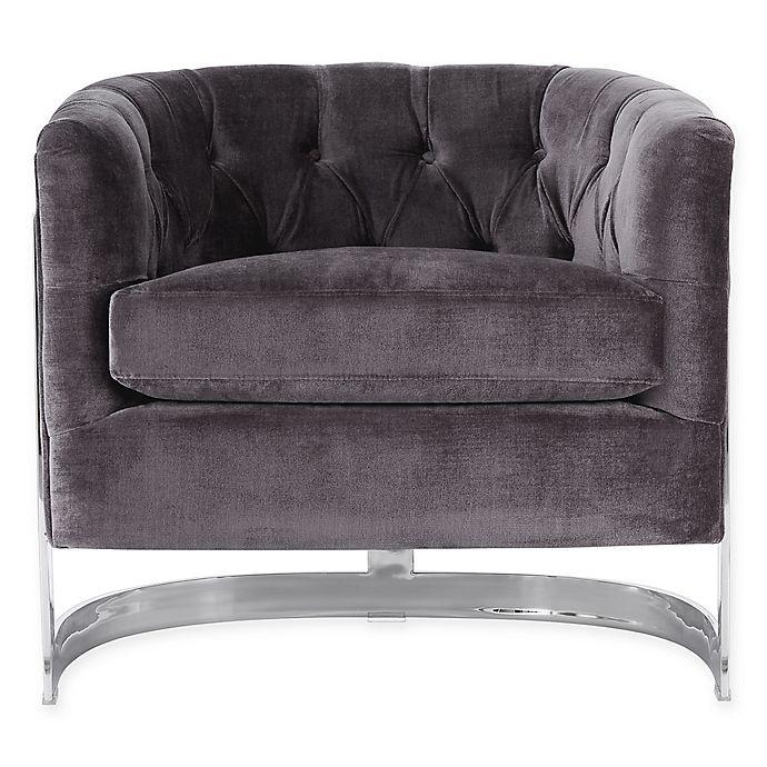 Alternate image 1 for Safavieh Zelda Velvet Chair in Grey/Silver
