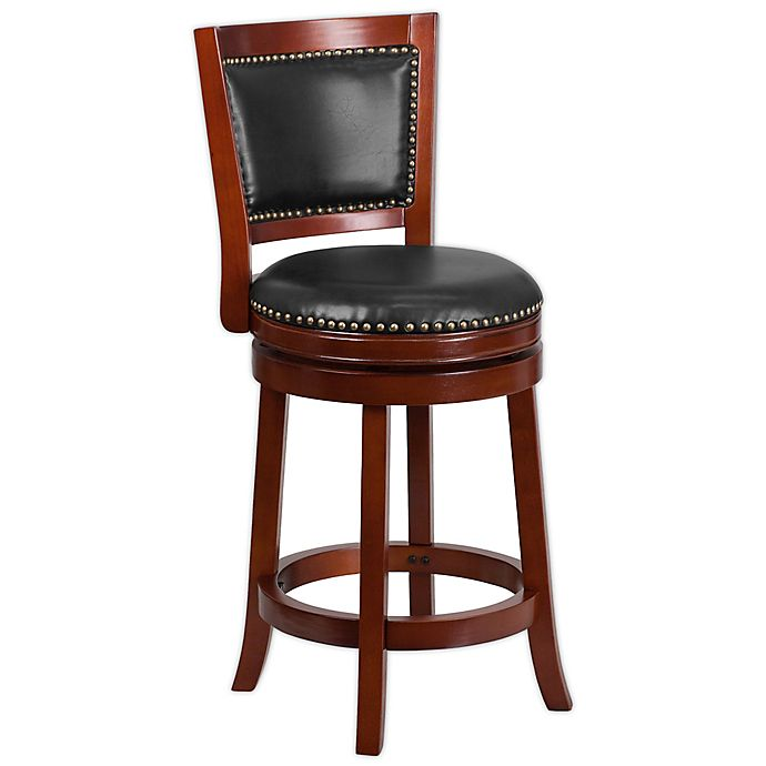 Alternate image 1 for Flash Furniture High-Back Swivel Counter Stool in Cherry Walnut