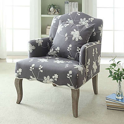 Floral Linen Arm Chair in Grey Wash