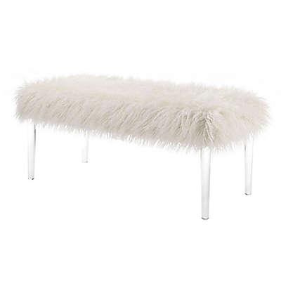 Linon Faux Flokati Bench in White
