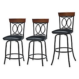 OX Adjustable-Height Swivel Stools in Brown (Set of 3)