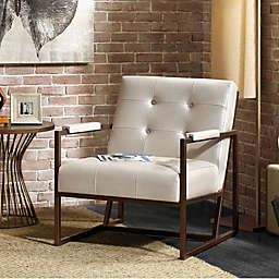INK+IVY Waldorf Lounge Chair in White/Bronze