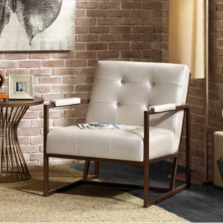 Ink Ivy Waldorf Lounge Chair In White Bronze Bed Bath