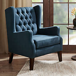 Madison Park Maxwell Wing Chair in Navy
