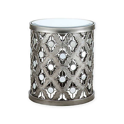 Madison Park Arian Accent Drum Table in Silver