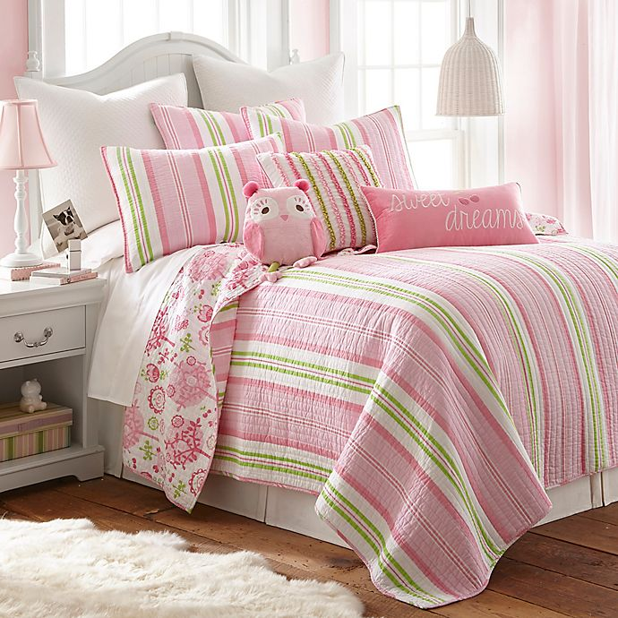 Alternate image 1 for Levtex Home Paige Reversible 3-Piece Full/Queen Quilt Set in Pink/Green