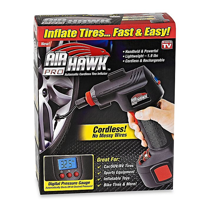 ONTEL Air Hawk Pro Automatic Cordless Tire Inflator Portable Air Compressor Built in LED Light Easy to Read Digital Pressure Gauge