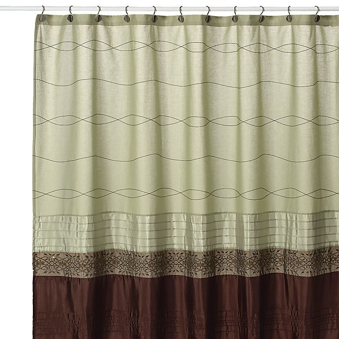 Kas Romana 72 Inch W X 96 L Extra Long Fabric Shower Curtain In Green