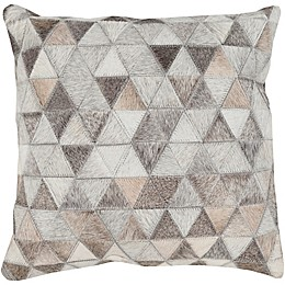 Style Statements by Surya Hair on Hide Geometric 18-Inch Square Throw Pillow in Beige