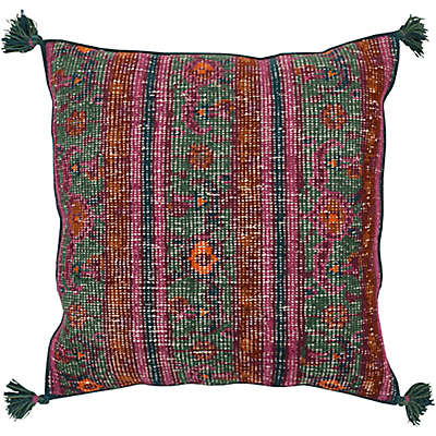Style Statements by Surya Oskol Square Throw Pillow in Teal