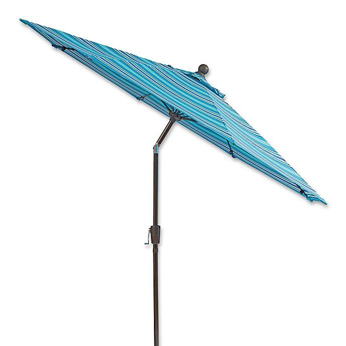 Alternate image 1 for 9-Foot Round Aluminum and Fiberglass Outdoor Umbrella in Blue Stripe