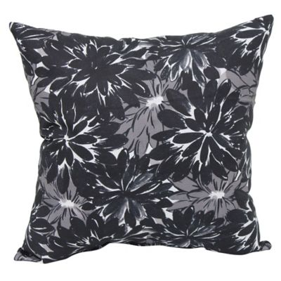 Verano Floral Outdoor Square Throw Pillows In Black Set