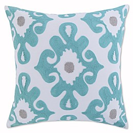Levtex Home Elia Embroidered Medallion Throw Pillow in Teal/White
