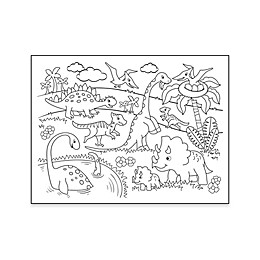 Dinosaur Coloring Placemat with 4 Crayons