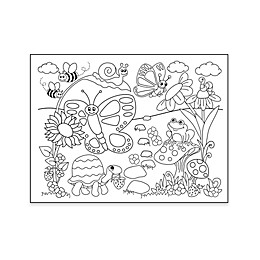 Garden Coloring Placemat with 4 Crayons