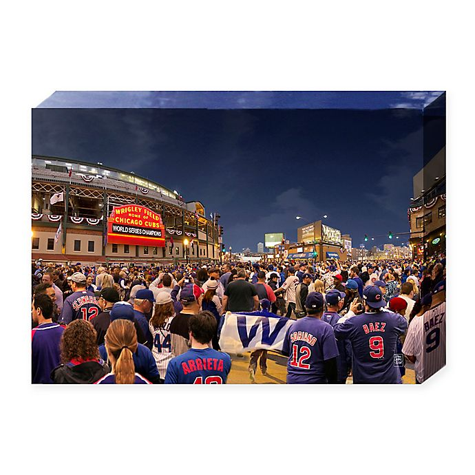 MLB Chicago Cubs Win 24-Inch x 16-Inch Canvas Wall Art | Bed Bath
