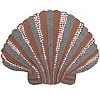 Beaded Scalloped Shell Placemat in Sand/Blue