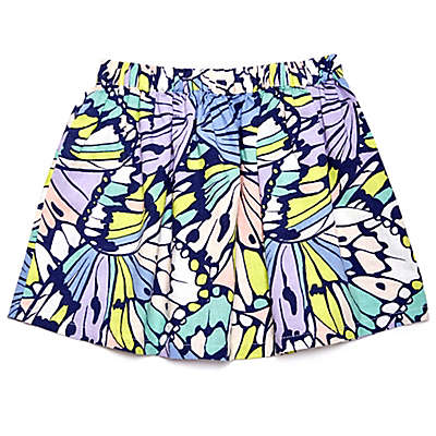 Margherita Kids Multicolor Butterfly Print Skirt with Patch Pockets
