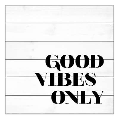 """Marmont Hill """"Good Vibes Only"""" 24-Inch x 24-Inch Pinewood Wall Art"""