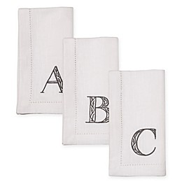 KAF Home Rustic Embroidered Monogram Napkins (Set of 4)