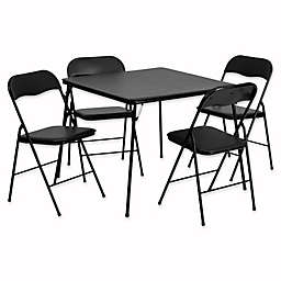 Flash Furniture 5 Piece Folding Card Table And Chairs In Black