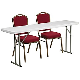 Flash Furniture 3-Piece Plastic Folding Table and Crown Back Chairs Set in Burgundy/White