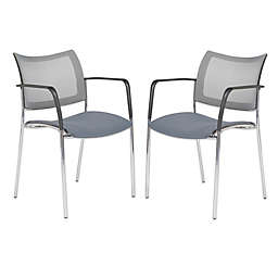 Vahn Office Visitor Chairs in Grey/Chrome (Set of 2)