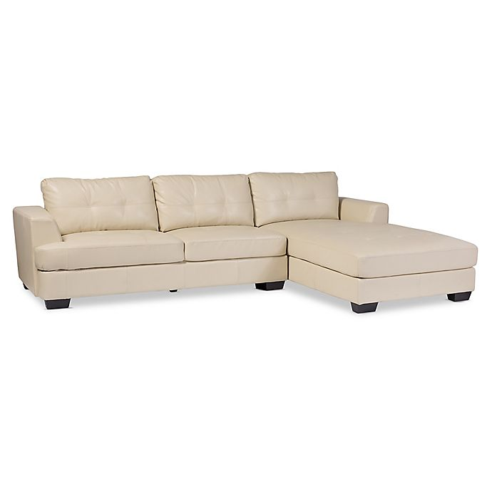 Baxton Studio Dobson Leather Modern Sectional Sofa Bed