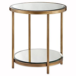 Madison Park Cole End Table in Mirror/Bronze