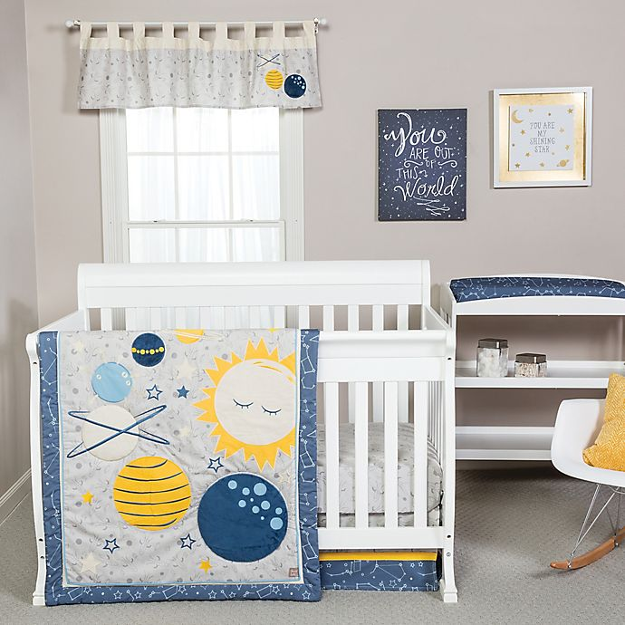 Alternate image 1 for Trend Lab® Galaxy 4-Piece Crib Bedding Set in Blue/Yellow