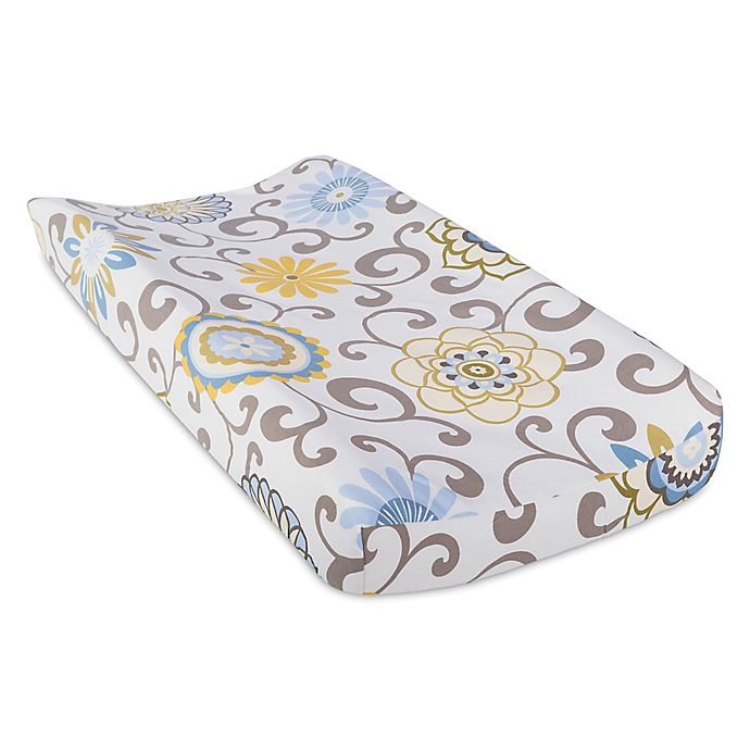 Alternate image 1 for Waverly® Baby by Trend Lab® Pom Pom Spa Changing Pad Cover in Blue/Green