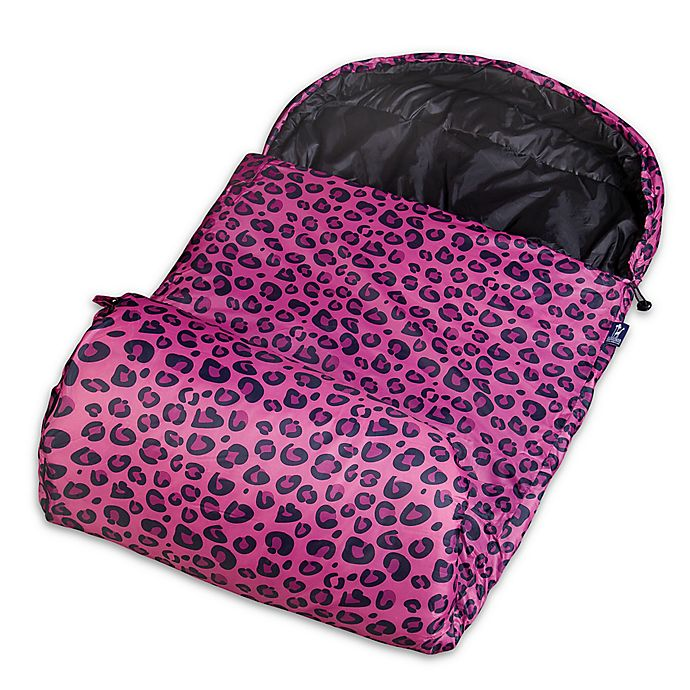 Alternate image 1 for Wildkin Leopard Stay Warm Sleeping Bag in Pink