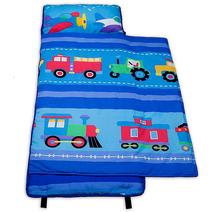 Alternate image 1 for Olive Kids Trains, Planes 100% Cotton Nap Mat in Blue