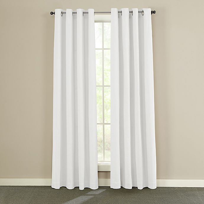 Alternate image 1 for Twill & Birch® Presley 84-Inch Grommet Top Burlap Window Curtain Panel in White