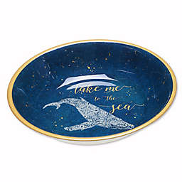 Coastal Lace Melamine Serving Bowl in Navy