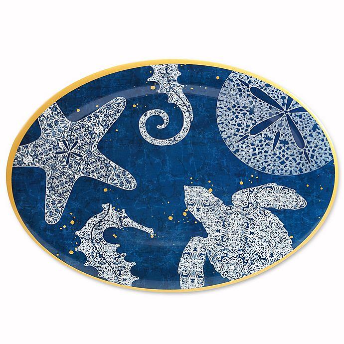 Alternate image 1 for Coastal Lace Melamine Oval Serving Platter in Navy