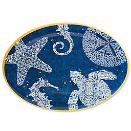 Coastal Lace Melamine Oval Serving Platter in Navy