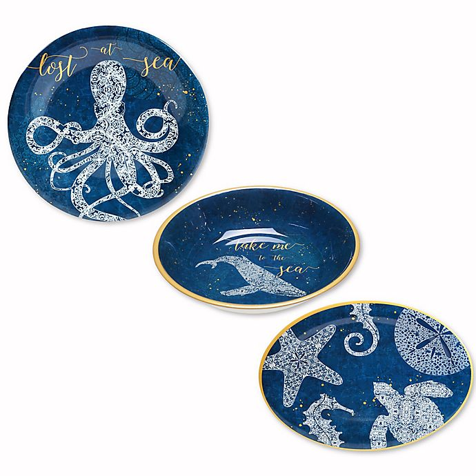 Alternate image 1 for Coastal Lace Melamine Dinnerware Collection in Navy