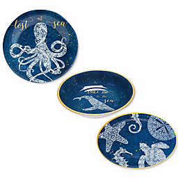 Coastal Lace Melamine Dinnerware Collection in Navy
