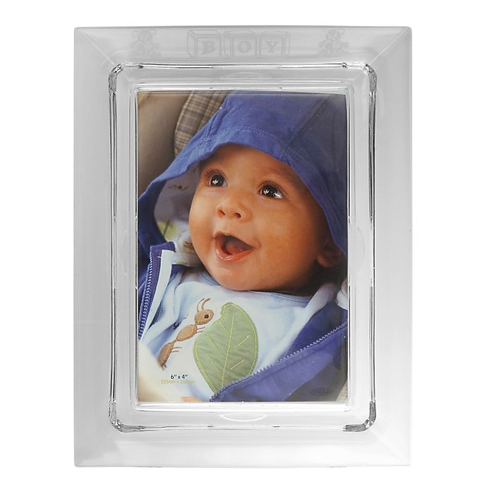 Alternate image 1 for Galway Crystal 4-Inch x 6-Inch Baby Boy Picture Frame