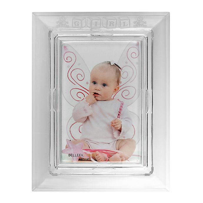 Alternate image 1 for Galway Crystal 4-Inch x 6-Inch Baby Girl Picture Frame