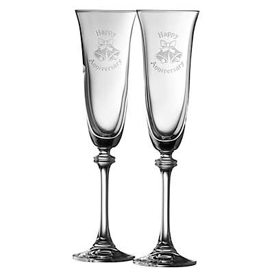 """Galway Crystal Liberty """"Happy Anniversary"""" Toasting Flutes (Set of 2)"""