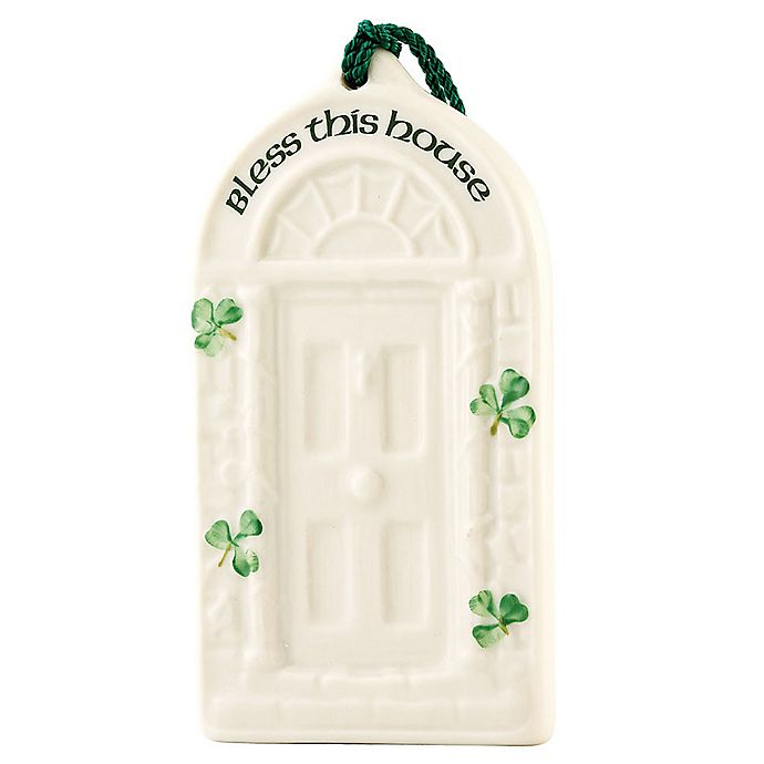 Alternate image 1 for Belleek Classic Shamrock House Blessing Ornament