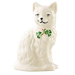 Belleek Shamrock Quizzical Cat