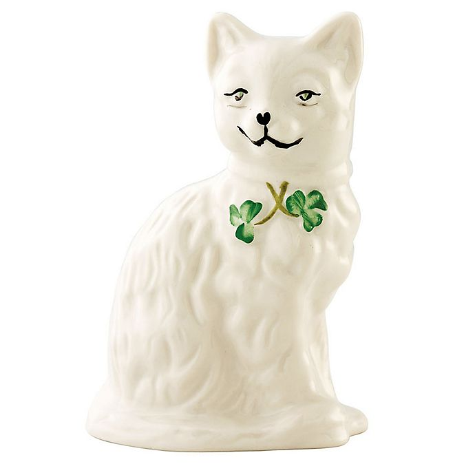 Alternate image 1 for Belleek Shamrock Quizzical Cat