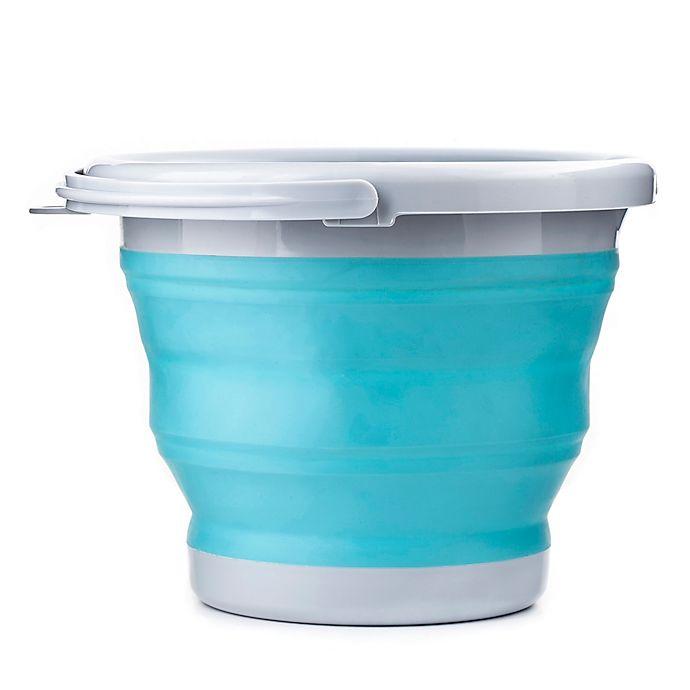 Alternate image 1 for Kikkerland® 5-Liter Collapsible Bucket in Aqua