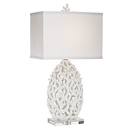 Kathy Ireland Coral Table Lamp in White