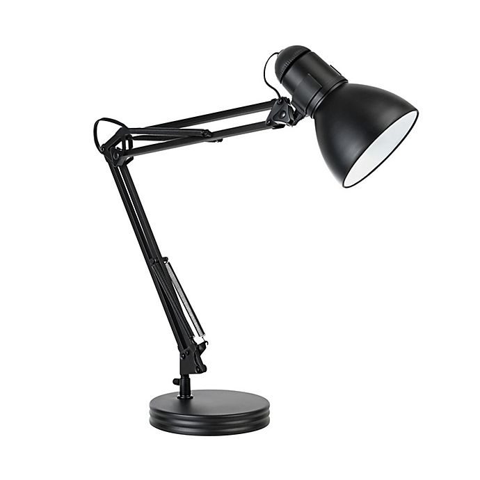 Globe Electric Heavy Base Architect Swing Arm Desk Lamp In Black