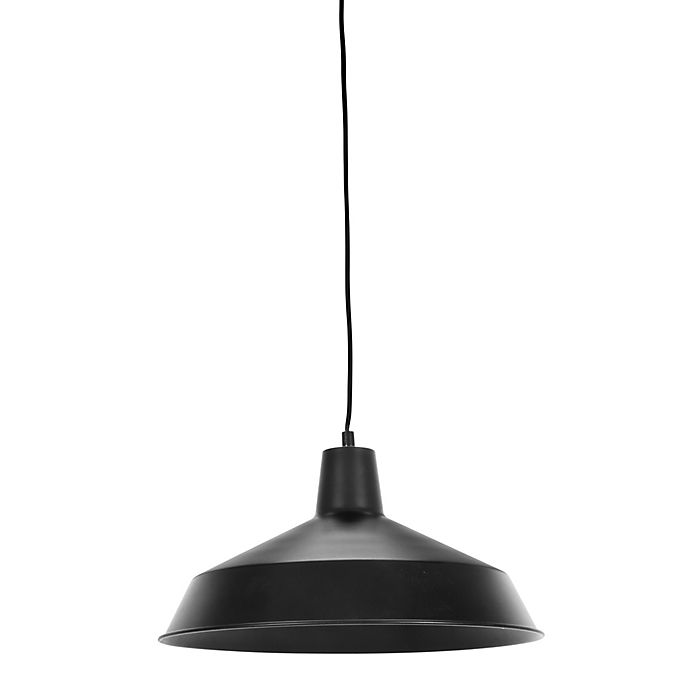 Alternate image 1 for Globe Electric 1-Light Barnyard Plug-In Pendant in Black with 15-Foot Cord