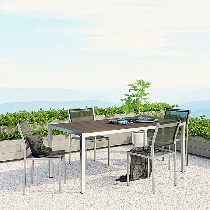 Alternate image 1 for Modway Shore Aluminum Mesh Outdoor Dining Set in Silver/Black